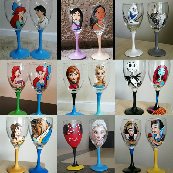 Home Decoration And Furnishing Articles Couple Characters: Hand Painted Disney Wine Glasses Of Your Choice