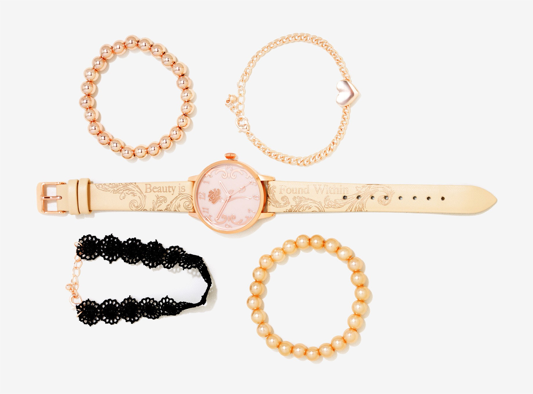 Beauty and the Beast Rose Gold Watch set