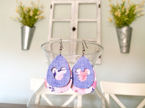 Floral Chambray Mickey Earrings