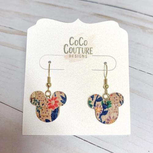 Floral Mickey Cork Earrings