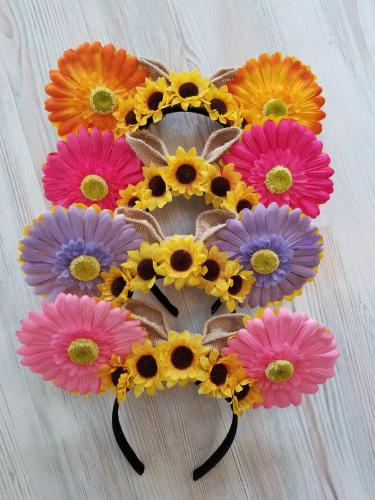 Reversible Flower Crown Sunflower Ears