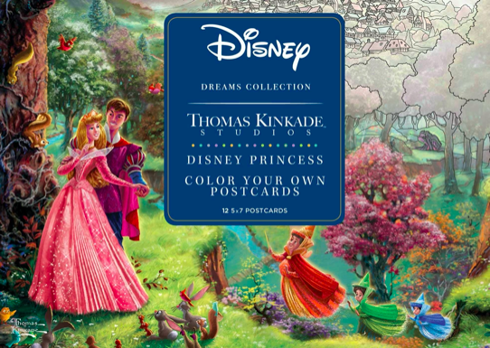 Colorable Thomas Kinkade Princess Postcards