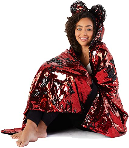Minnie Reversible Sequin Hooded Throw